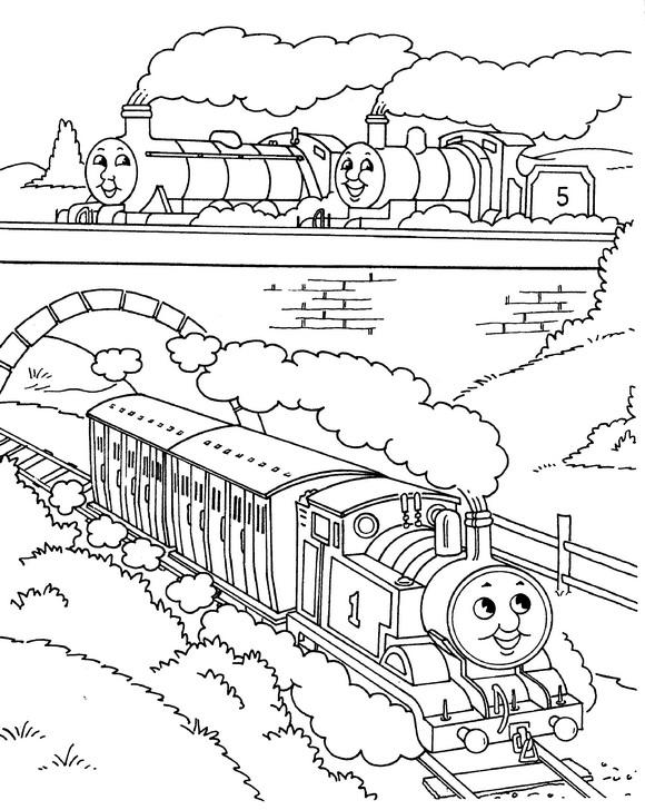 Thomas de Trein kleurplaat: Thomas, Percy en James